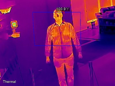 Thermal Cameras with skin temperature measurement can provide pre-screening triage for buildings as people enter. When paired with our AVM system, personnel can receive text and email alerts as well so that they can further screen for elevated body temperatures or fevers before granting admittance to the building or enacting building security and sanitation protocols