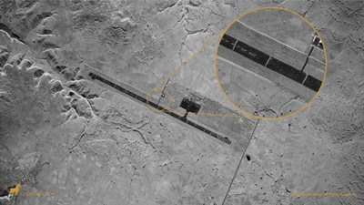 Aksum, Ethiopia — Capella's very high-resolution Spot image identifies 23 trenches dug perpendicularly across the runway at the Aksum Airport to prevent its usage during the Ethiopian Tigray conflict. A closeup view shows the trenches and debris brightly contrasted against the dark tarmac surface.