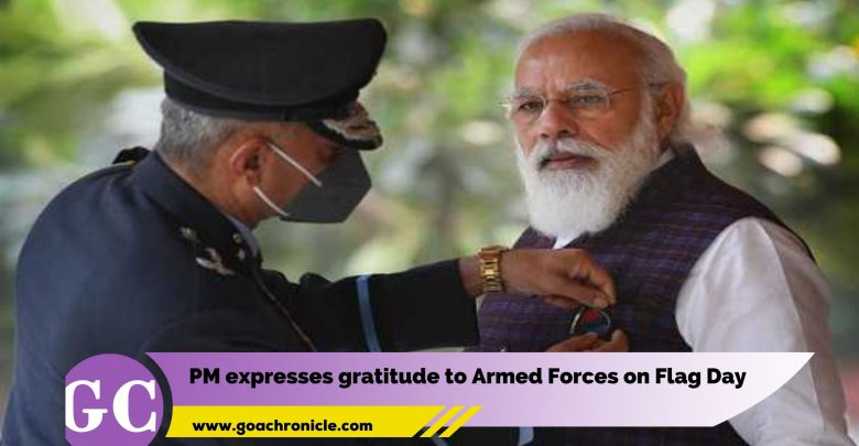 PM Narendra Modi expresses gratitude to Armed Forces on Flag Day