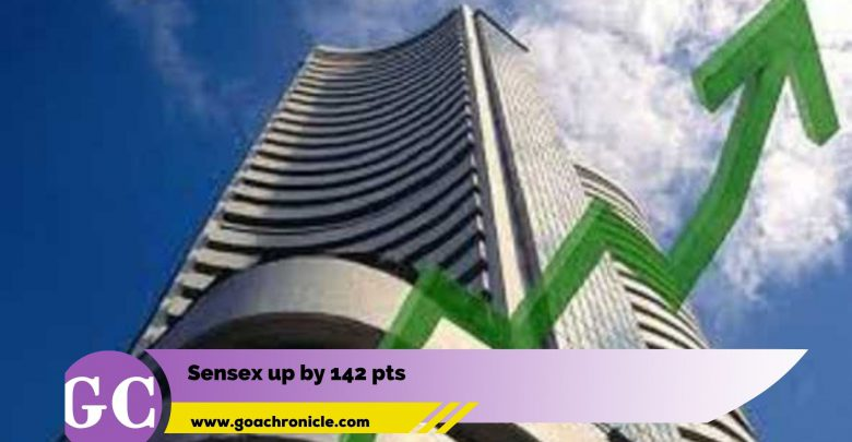 BSE Sensex up by 142 pts